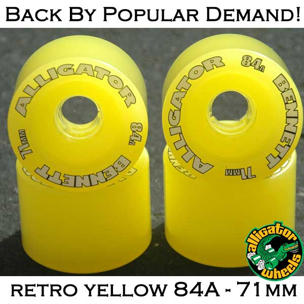 Bennett Alligator Wheels - 71mm 84a Retro Yellow - in stock now!
