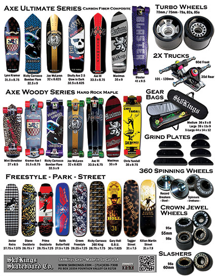 Shop our Sk8Kings full line of decks, custom completes, trucks, wheels, bags, logo wear & unique accessories