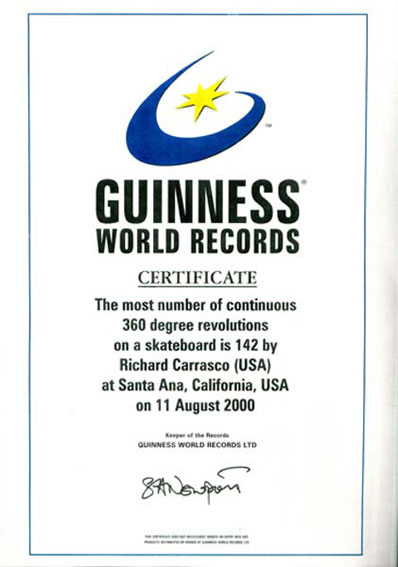 Guinness World Record Certificate - Richy